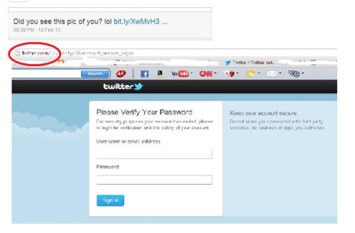 Warning: Twitter Phishing Websites