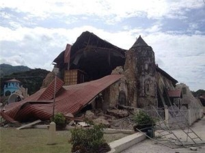 Bohol Earthquake Images. Church collapsed due to 7.2 earthquake.