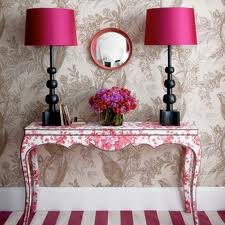 Top Eight Home Interior ... 2 Floral Patterns. Floral desk with pink or fuscia lamps with circular mirror.