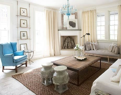 Top Eight Home Interior ... 5 Coastal Living. Turqouise winged chair. white living room with cream curtains and gorgeous turqouise ceiling lamp