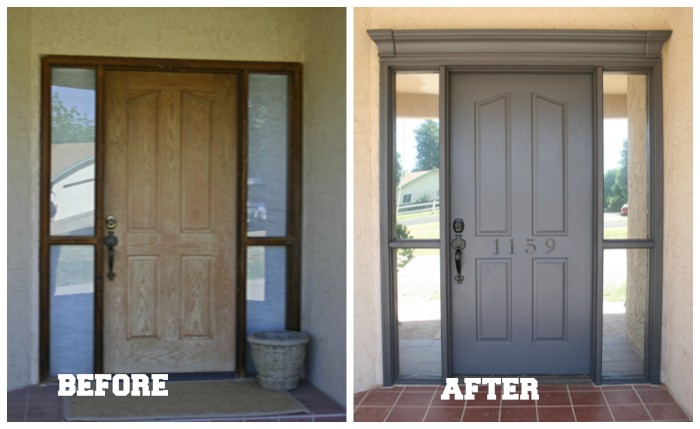 Me and Jilly Front Door Before and After, how to decorate a front door, dark muddy gray door with crown molding