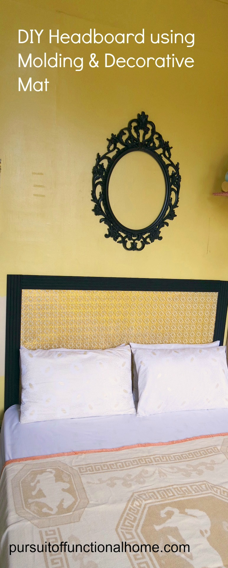 HOW TO MAKE A HEADBOARD, HEADBOARD USING MOLDING WITH flower DECORATIVE MAT