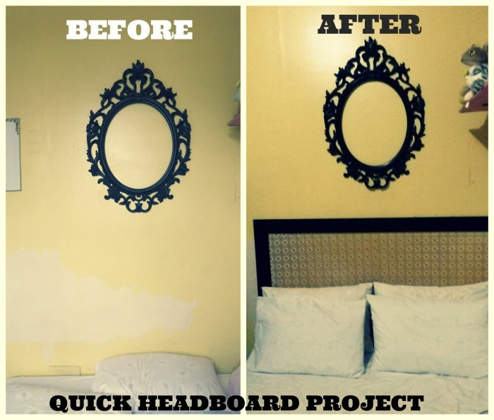 Headboard Project Before and After, HOW TO MAKE A HEADBOARD, HEADBOARD USING MOLDING WITH flower DECORATIVE MAT, $20 headboard