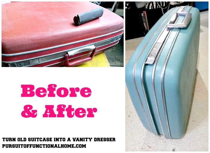 Turn Old Suitcase into a Vanity Dresser, How to turn old suitcase, vintage samsonite suit case, vintage suitcase repurpose, how to repurpose old suitcase, red samsonite suit case