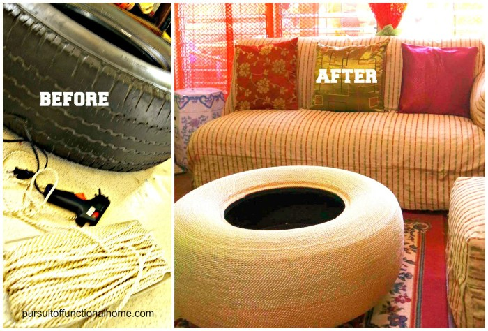 Before and After Tire Project, old tire coffee table, tire table, diy tire project