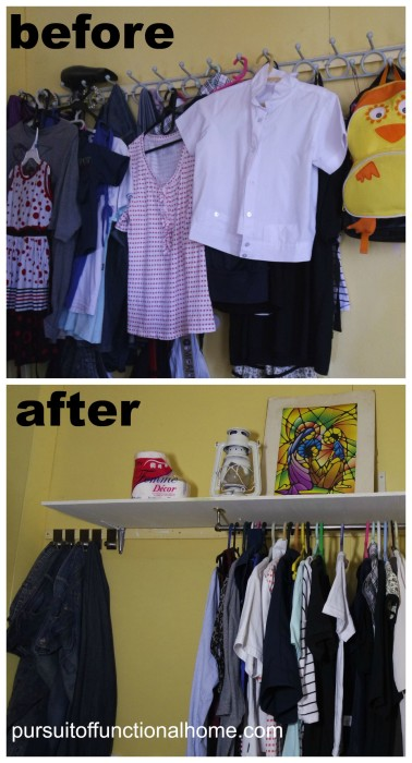 Organizing Clothes before and after, using wall as extra clothing storage, how to organize clothes, sneaky way to utilize bedroom space, organizing clothes, small space organizing