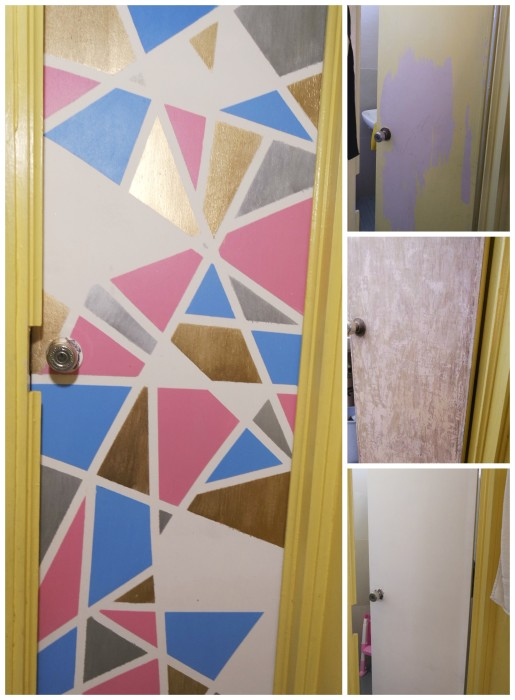 Toilet Door Update, updating old door, how to update old door, graphic door design, graphic design doors