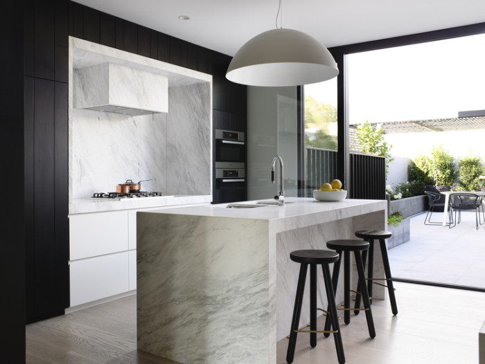 Kitchen Solutions, black and white kitchen with marble kitchen island
