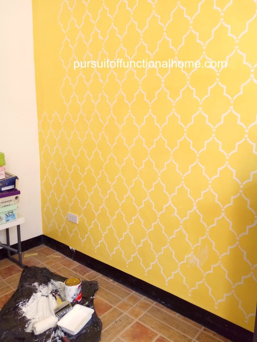 Reusable Wall Stencil Sophia Trellis Pattern, yellow wall, garage wall, colorful garage, stenciling the wall at garage, wall stencil philippines, cebu city townhouse