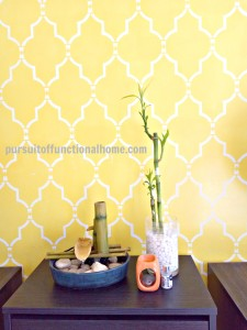 Sophia Trellis Wall Stencil Pattern Indoor Foundtain Bamboo Plant and burner