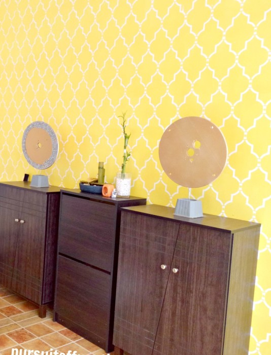 Sophia Trellis Wall Stencil Pattern Yellow and white wall, Yellow wall garage, stenciled wall garage, game board for garage, garage townhouses, town house, garage cebu city, fun garage, colorful garage, yellow garage, how to organize shoes