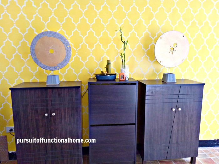 Sophia Trellis Wall Stencil Pattern Yellow and white wall decorations, garage wall with stencils, yellow garage wall, interior design garage