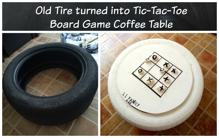 TicTacToe Tire, game board from old tire, old tire coffee table, old tire project