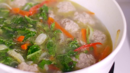 Sotanghon Soup with Meatballs
